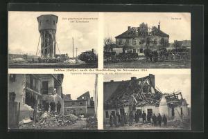 AK Soldau, durch Geschosse zerstörte Mühlenstrasse mit Wasserturm und Rathaus