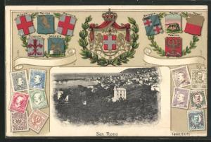 Passepartout-AK San Remo, Ortspanorama, verschiedene Länderwappen