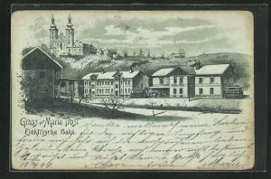 Mondschein-Lithographie Maria Trost, Teilansicht mit Kirche und Bahnhof der Elektrischen Bahn