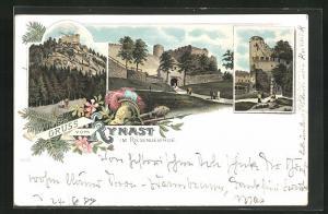 Lithographie Hermsdorf, Kynast im Riesengebirge, verschiedene Ansichten