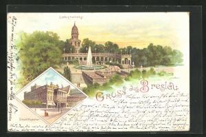 Lithographie Breslau, Liebichshöhe und Stadttheater