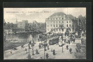AK Königsberg i. Pr., Grüne Brücke, Hafen und Strassenbahn