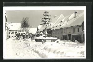 Foto-AK St. Gallen / Stmk., Partie im verschneiten Ort
