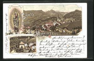 Lithographie Mariazell, Marienstatue und Heiligenbrunn