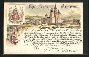 Lithographie Mariazell, Gnaden-Mutter und Prozession