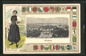 AK Solothurn, Gesamtansicht im Passepartout mit Wappen, Dame in Tracht