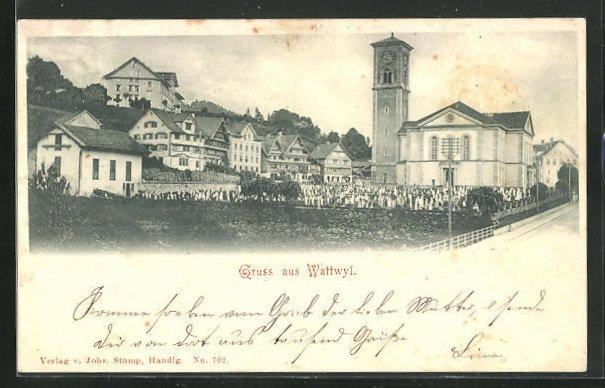 AK Wattwyl, Teilansicht mit Kirche und Friedhof 0