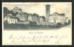 AK Wattwyl, Teilansicht mit Kirche und Friedhof