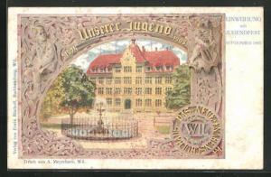 Lithographie Wil, Neues Knabenschulhaus, Einweihung mit Jugendfest im September 1905