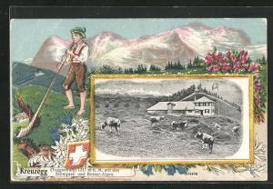 Passepartout-Lithographie Kreuzegg / Toggenburg, Berggasthaus mit Schwyzer und Berner Alpen, Junge mit Alpenhorn