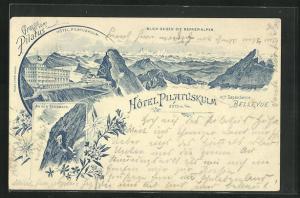 Lithographie Pilatus, Hotel Pilatuskulm mit Dependance Bellevue, Berner Alpen