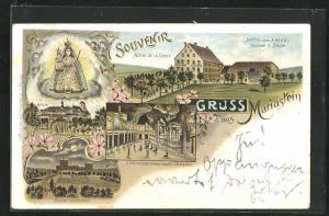 Lithographie Mariastein, Hotel zum Kreuz, Ruine Landskron, Kloster, Gnadenbild