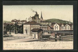 AK Wyl / St. Gallen, Teilansicht mit Gleispartie