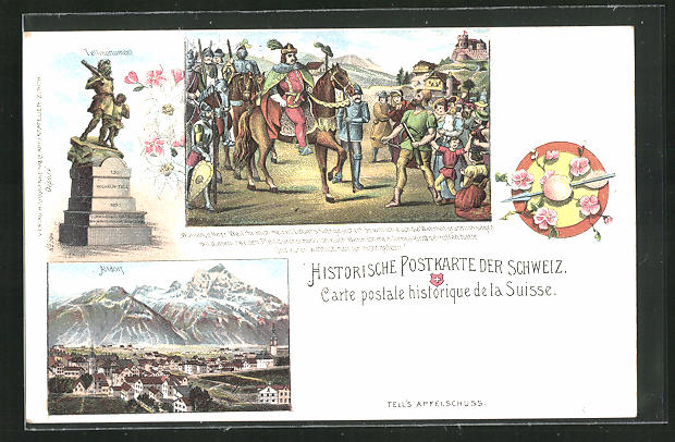 Künstler-AK Altdorf, Historische Postkarte, Telldenkmal, Tells Apfelschuss 0