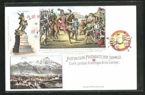 Künstler-AK Altdorf, Historische Postkarte, Telldenkmal, Tells Apfelschuss