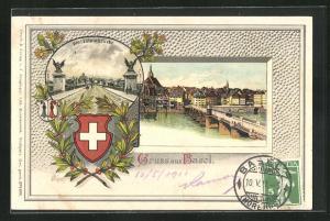 Passepartout-Lithographie Basel, Ortsansicht und Wetzsteinbrücke mit Wappen
