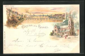 Lithographie Basel, Teilansicht mit Brücke und Kirche
