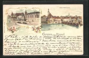 Lithographie Basel, Casino mit Strassenbahn, Rheinbrücke
