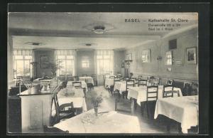 AK Basel, Kaffeehalle St. Clara in der Clarastrasse 32 u. 34, Saal im 1. Stock