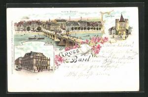 Lithographie Basel, Theater, Spalentor, Ortsansicht mit Rheinbrücke