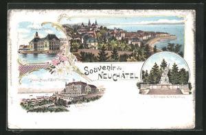 Lithographie Neuchatel, Hotel des Postes, Hotel des Alpes, Le Monument de la Republique, Ortsansicht