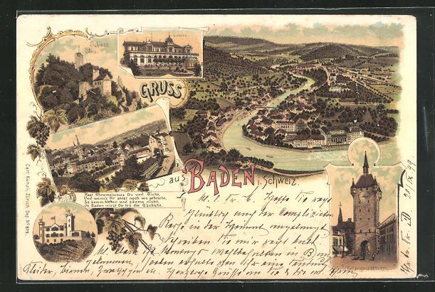 Lithographie Baden / Schweiz, Casino, Gefängnisturm, Schloss Stein, Ortsansicht 0