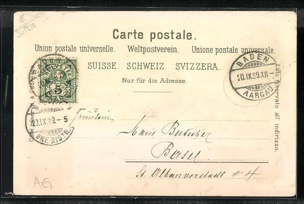 Lithographie Baden / Schweiz, Casino, Gefängnisturm, Schloss Stein, Ortsansicht 1