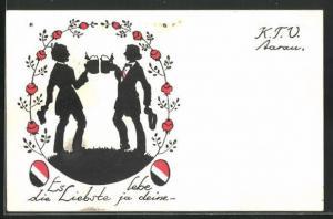 AK Aarau, Studentika K. T. V., Silhouette von Burschenschaftler beim Biertrinken, Es Lebe die Liebste ja deine