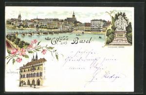 Lithographie Basel, Rathaus, Strassburger Denkmal, Ortsansicht mit Rheinbrücke