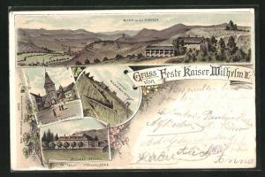 Lithographie Mutzig, Blick in die Vogesen, Feste Kaiser Wilhelm & Mutziger Stadttor