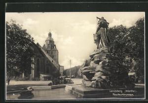 AK Landsberg / Gorzow Wlkp, Teilansicht mit Pauckschbrunnen