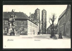 AK Breslau, Partie mit Domstrasse