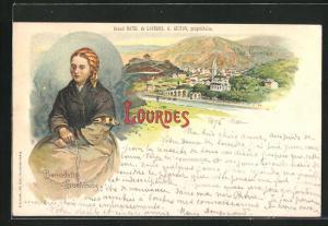 Lithographie Lourdes, Panorama & Bernadette Soubiroug