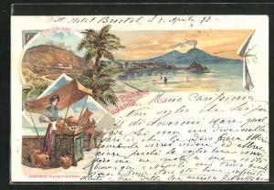 Lithographie Napoli, Funicolare, Panorama, Venditrice d'Acque Minerali