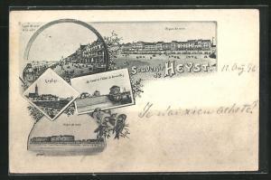 AK Heyst, Digue de mer, L`eglise, Le canal et l`hôtel de Bruxelles