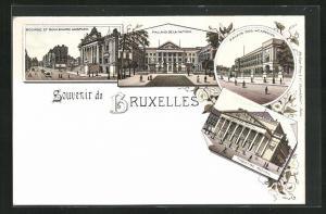Lithographie Brüssel / Bruxelles, Bourse et Boulevard Anspach, Palais de la Nation & Theatre Royal