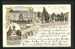 Lithographie Brüssel / Bruxelles, Fontaine de Brouchere, Place du Petit Sablon & statue des Comtes d`Egment et de Horn