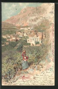 Lithographie Capri, Ortsansicht