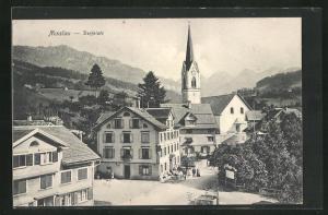 AK Nesslau, Dorfplatz mit Blick zur Kirche