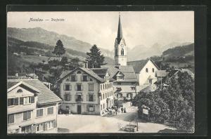 AK Nesslau, Dorfplatz mit Kirchblick