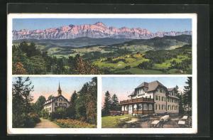AK Gähwil, Gasthaus Iddaburg, Blick auf die Alpen