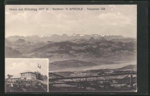 AK Kreuzegg, Gasthaus von A. Raschle, Fernblick auf die Berge