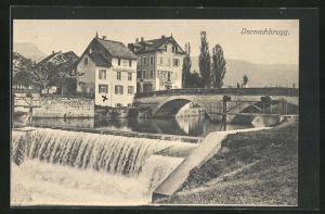 AK Dornachbrugg, Ortsansicht mit Birsfall