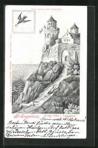 Lithographie Alt-Toggenburg, St. Idda Gräfin von Toggenburg, Vogel mit Ring