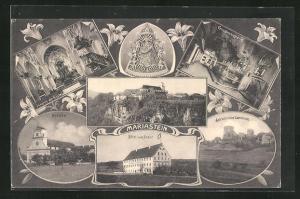 AK Mariastein, Panorama, Schlossruine Landskron & Kirche mit Innenansicht