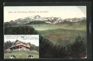AK Wattwil, Gasthaus z. Köbelisberg mit Aussicht auf den Säntis
