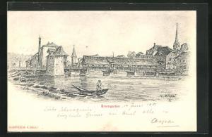 Künstler-AK Bremgarten, Historisches Panorama mit Brücke