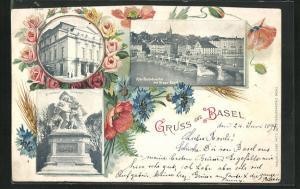 Passepartout-AK Basel, Alte Rheinbrücke, Strassburger Denkmal und Theater