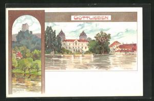 Künstler-AK Gottlieben, Panorama & Salenstein