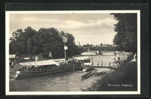 AK Rheinfelden, Schifflände, Dampfer an der Anlegestelle